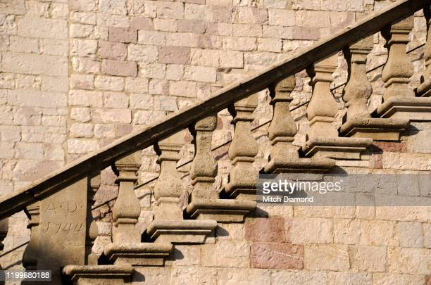 empty stone staircase of assisi italy - assis ストックフォトと画像