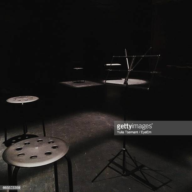 Empty Stools And Music Stand On Stage
