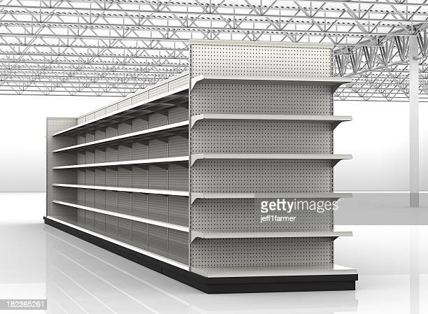 Empty store shelves in a retail environment
