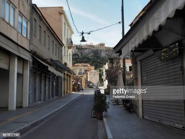 Empty Street at Plaka District, Athens, Greece