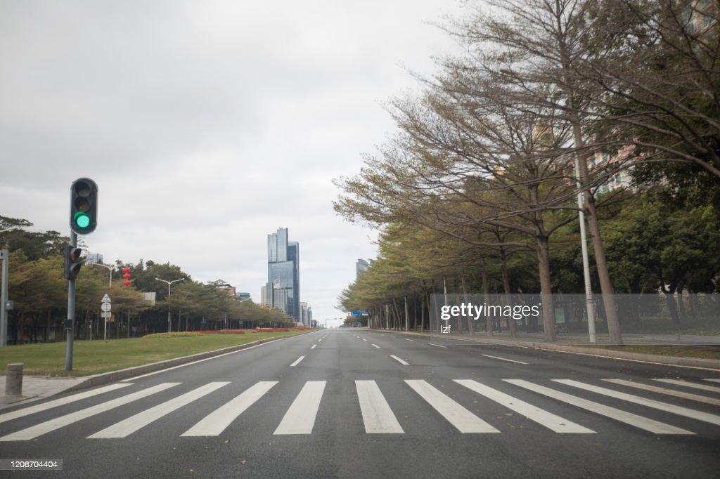 Empty street during the outbreak of Novel Coronavirus in Shenzhen city,China : Stock Photo