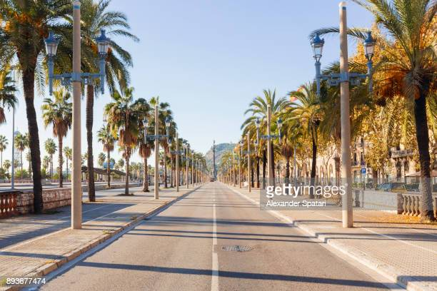 empty street in barcelona, catalonia, spain - high street stock pictures, royalty-free photos & images
