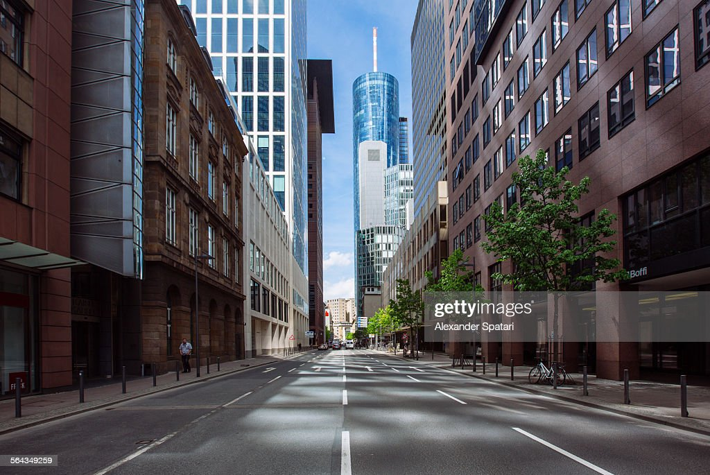 Empty street in Frankfurt am Main, Germany : Stock Photo