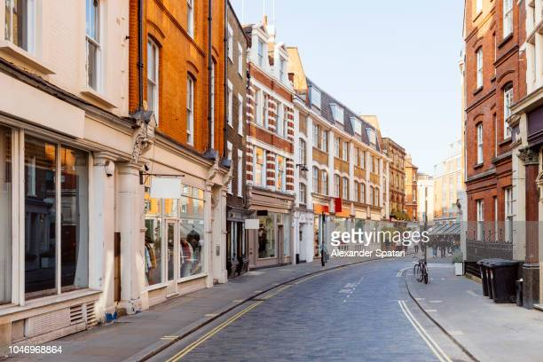 Empty street in Marylebone district, London, England