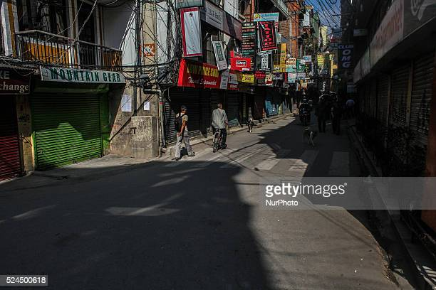Empty street of Thamel Nepal after the devastating 74 magnitude earthquake on 12 May 2015