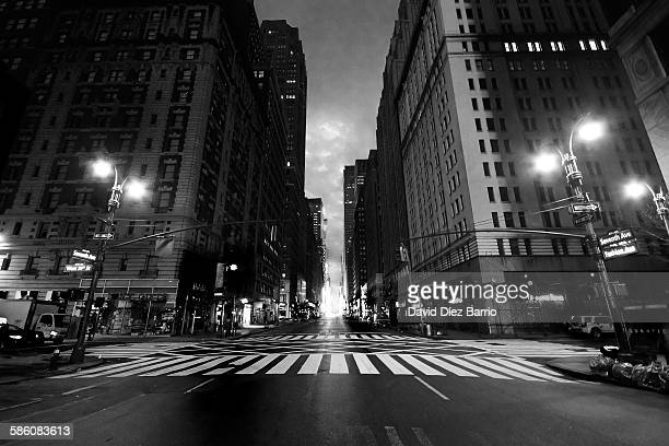 empty street seventh avenue, manhattan. - pedestrian crossing sign stock photos and pictures