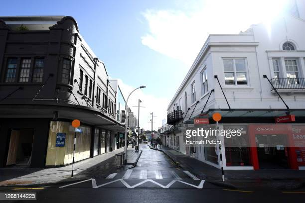 Empty streets are seen during Level 3 on August 24, 2020 in Auckland, New Zealand. Prime Minister Jacinda Ardern announced an extension to the...