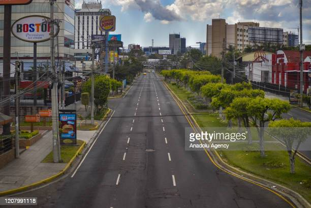 Empty streets are seen in El Salvador's capital and largest city San Salvador on March 23, 2020. The Salvadoran government has declared mandatory...
