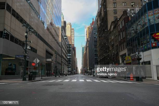 """Empty streets are seen in New York City, United States on March 22, 2020. The """"New York State on PAUSE"""" that executive order is in effect at 8 p.m...."""