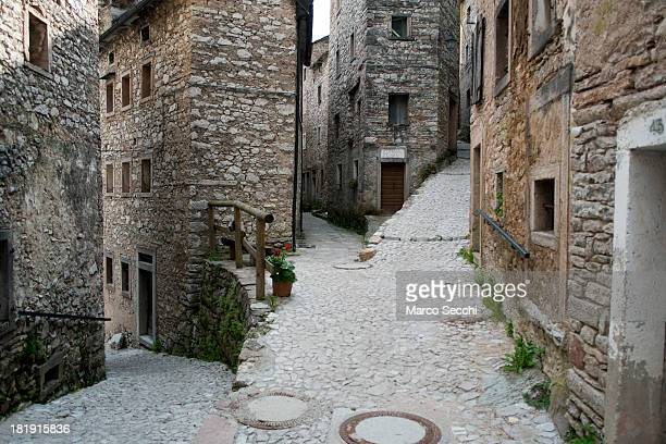 Empty streets are seen in the nearly abandoned village of Casso on September 26 2013 in Longarone Italy The Vajont Dam tragedy happened on the night...