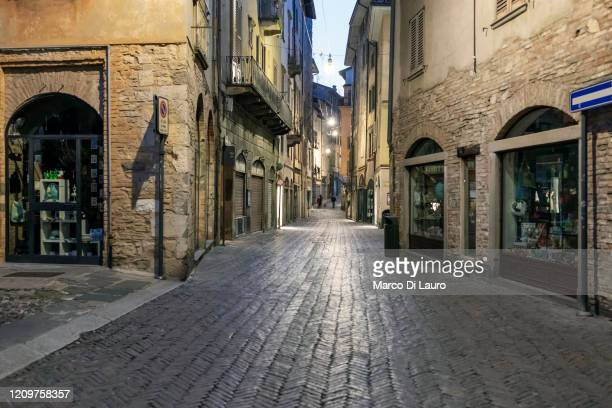 Empty streets are seen on April 6, 2020 in Bergamo, Italy. The number of new COVID-19 cases appears to be decreasing in Italy, including in the...