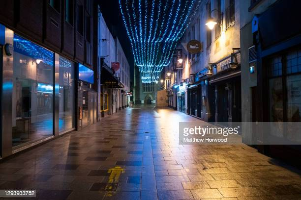 Empty streets in central Cardiff on December 31 in Cardiff, Wales. Wales went into a Level 4 lockdown from midnight on December 19. All non-essential...