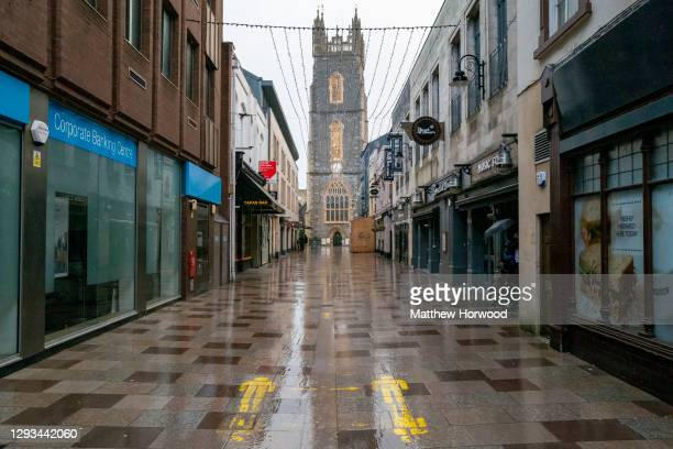 Empty streets in the city centre on December 27, 2020 in Cardiff, Wales. Wales went into a Level 4 lockdown from midnight on December 19. All...