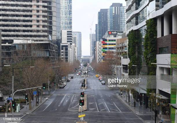 Empty streets of the city are seen on July 27, 2020 in Melbourne, Australia. Victoria has recorded 532 new cases of coronavirus and six more deaths....