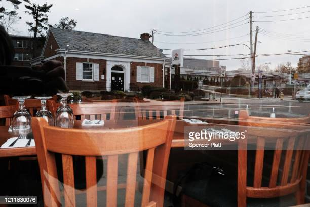 Empty streets restaurants and cafes make up the business area in the one mile containment zone on March 11 2020 in New Rochelle New York New Rochelle...