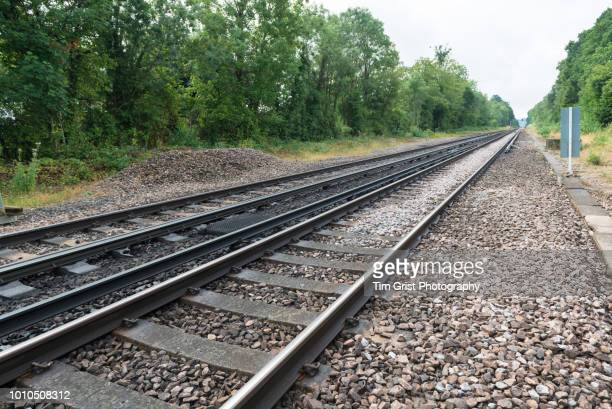 empty stretch of railway line - tramway stock pictures, royalty-free photos & images