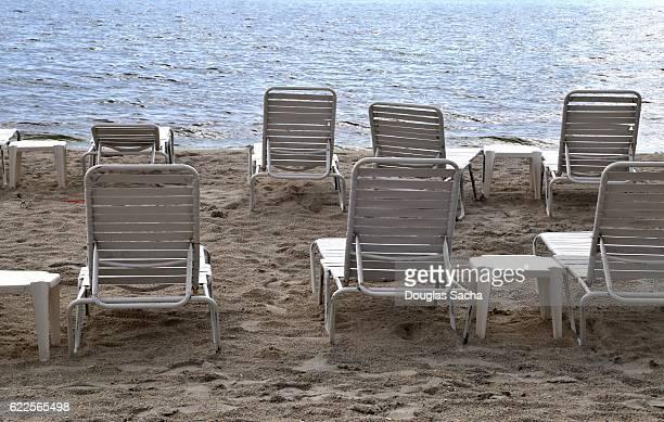 Empty sunbathing chairs on the beach, Daytona Beach, Florida, USA