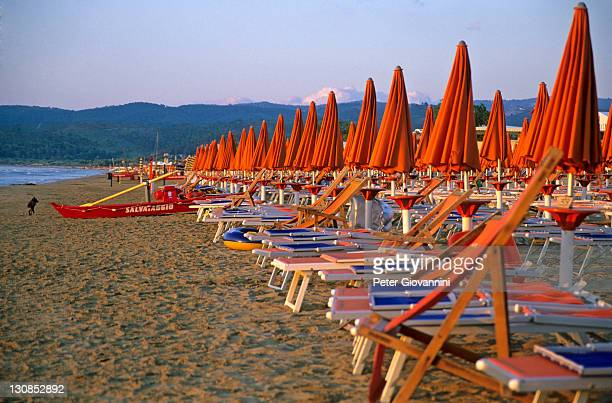 Empty sunloungers on the beach of Vieste, Gargano, Apulia, Italy