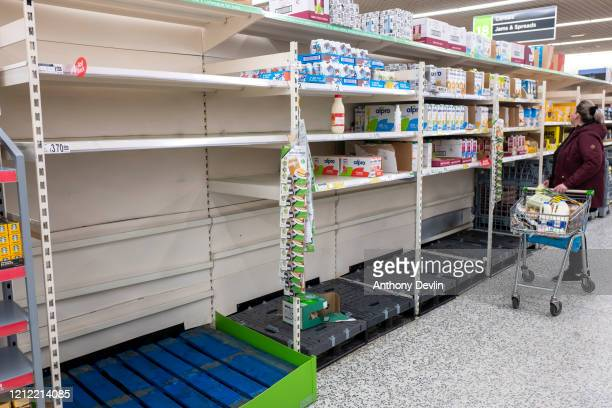Empty Supermarket shelves are seen in Manchester on March 13 2020 in Manchester England