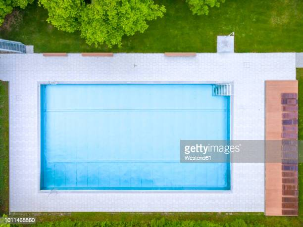empty swimming pool, top view - rectangle stock pictures, royalty-free photos & images