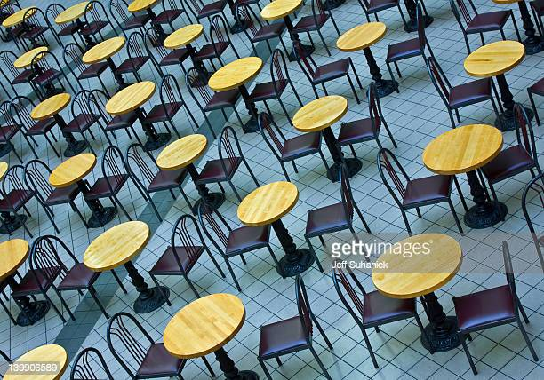Empty table and chairs