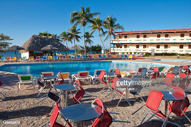 Empty tables and chairs at Hotel Club Amigo Ancon.