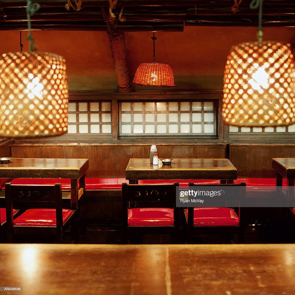 Empty tables and chairs in Japanese restaurant : Stock Photo