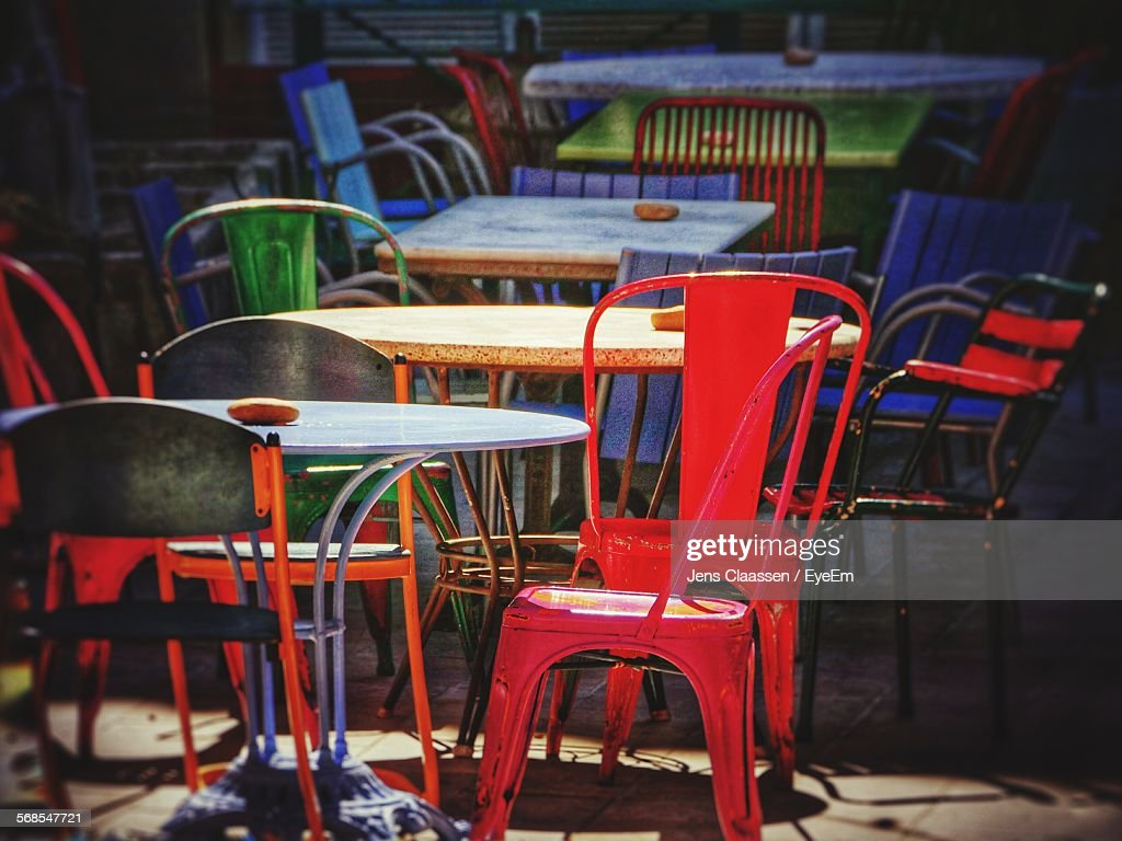 Empty Tables And Chairs In Sidewalk Cafe : Stock Photo