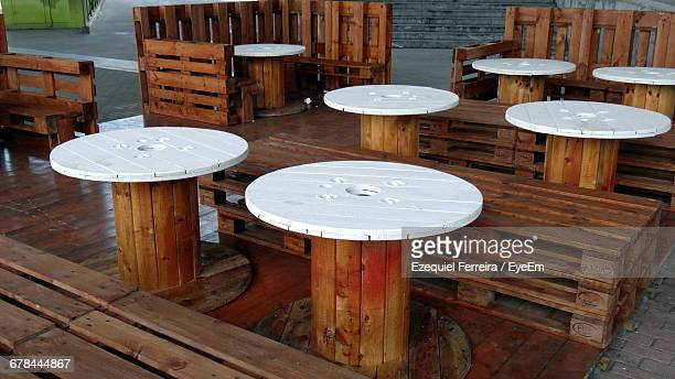 Empty Tables And Seats In Sidewalk Cafe