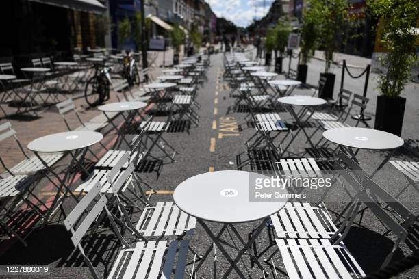 Empty tables outside a restaurant in Clapham on August 2, 2020 in London, England. British Prime Minister Boris Johnson has said it is time to...