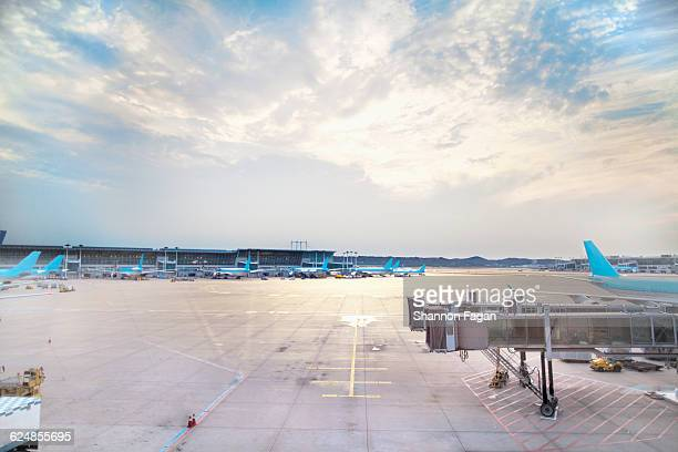 empty tarmac at airport gate at sunset - passenger boarding bridge stock pictures, royalty-free photos & images