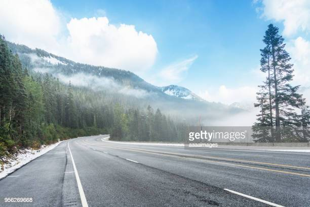 empty tarmac road in mt. rainier national park; - mountain road stock pictures, royalty-free photos & images