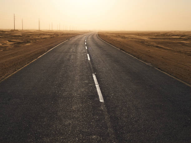 Empty tarmac road in the desert at sunset, Solitaire area, Namibia