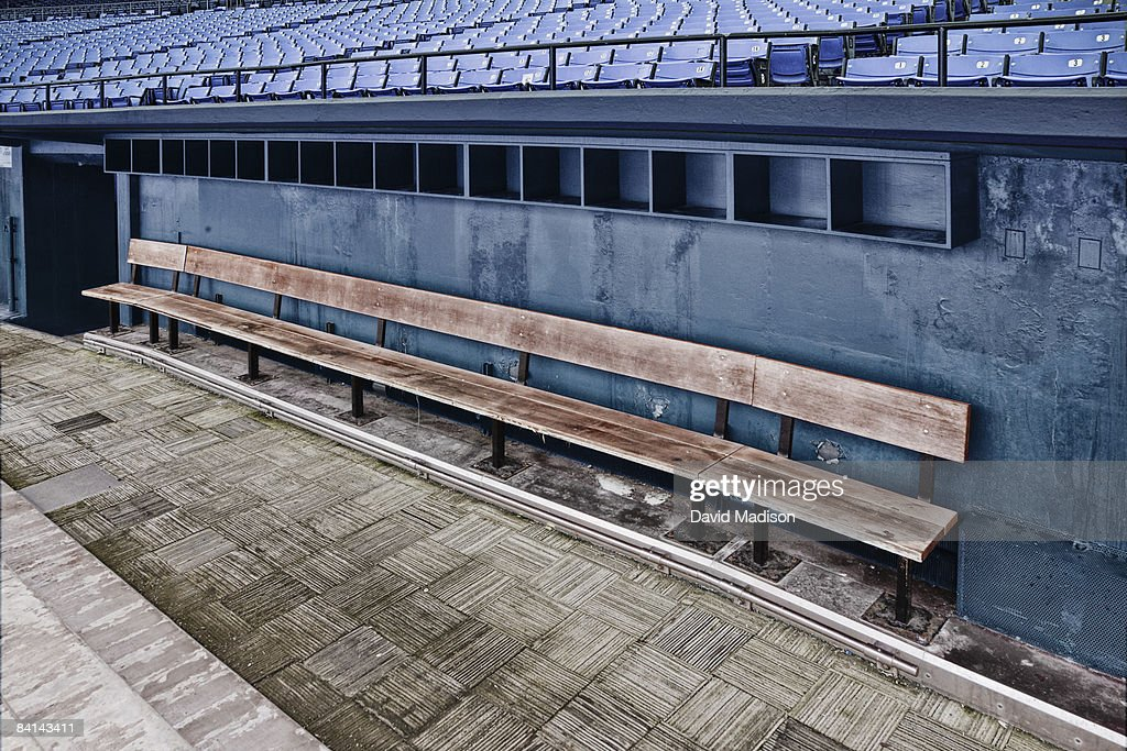Empty Team Bench In Baseball Dugout High-Res Stock Photo - Getty ...