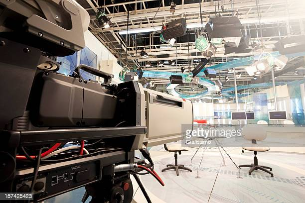 Empty television studio with camera