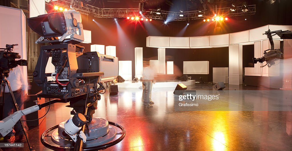 Empty television studio with camera : Stock Photo
