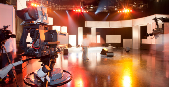 Empty television studio with camera 157441142
