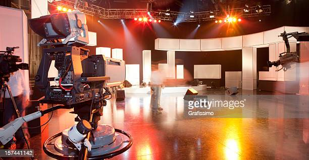 empty television studio with camera - television show stock pictures, royalty-free photos & images