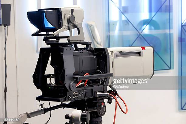 empty television studio with camera - television camera stock pictures, royalty-free photos & images