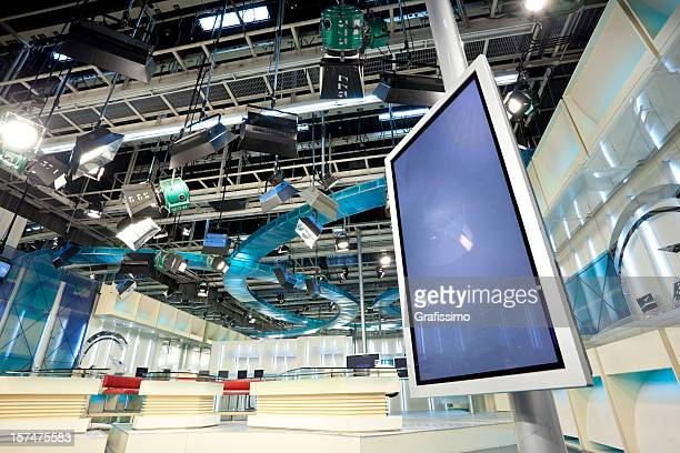 Empty television studio with LCD screen