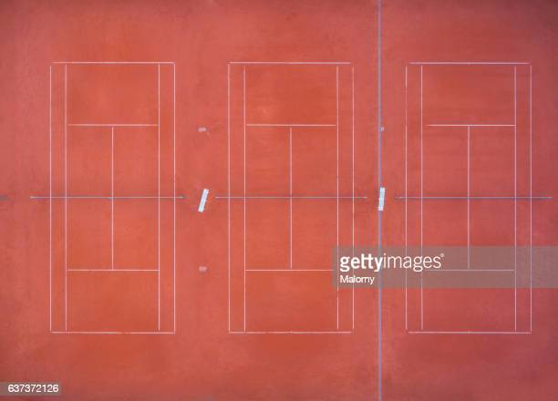 Empty tennis court, top view, aerial view