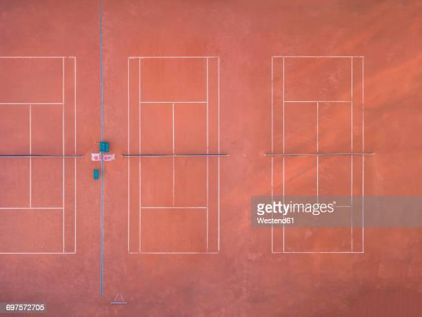 Empty tennis court, top view