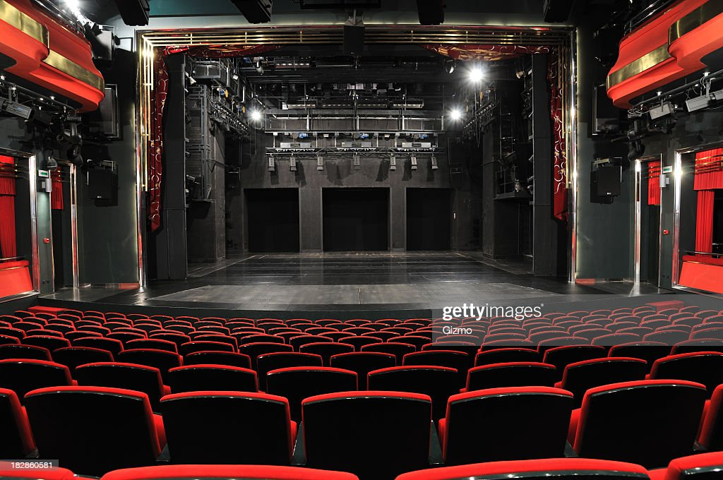 Empty theater from the view of the back row : Stock Photo