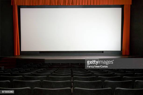 Empty theater with blank screen