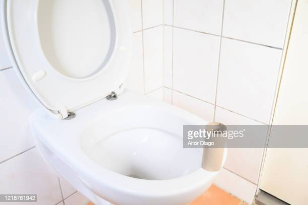 empty toilet paper on the toilet. - hemorroide fotografías e imágenes de stock