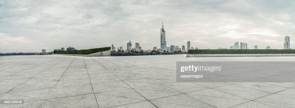 empty town square front of Nanjing skyline : Stock-Foto