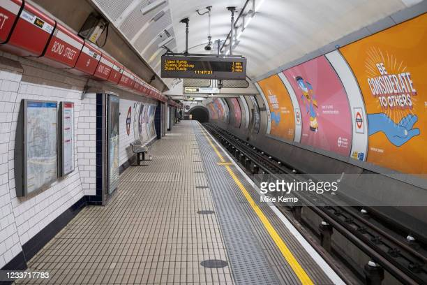 Empty underground station platform at Bond Street during the Covid-19 Coronavirus pandemic on 16th April 2021 in London, United Kingdom. As the...