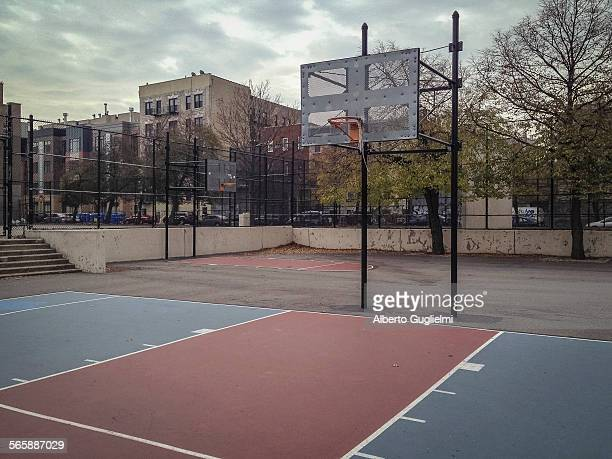 Empty urban basketball court