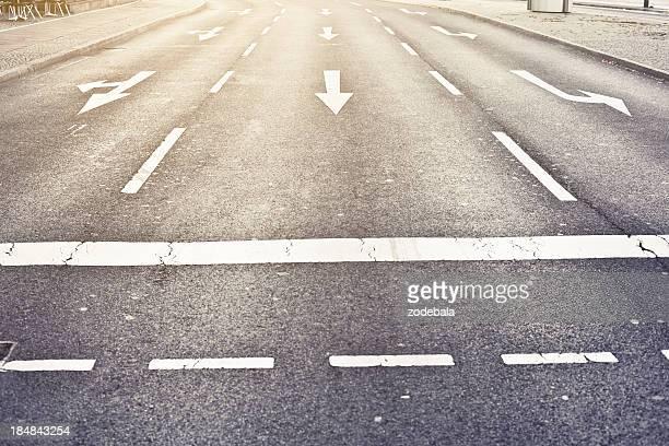 Empty Urban Road, Direction Sign on Asphalt