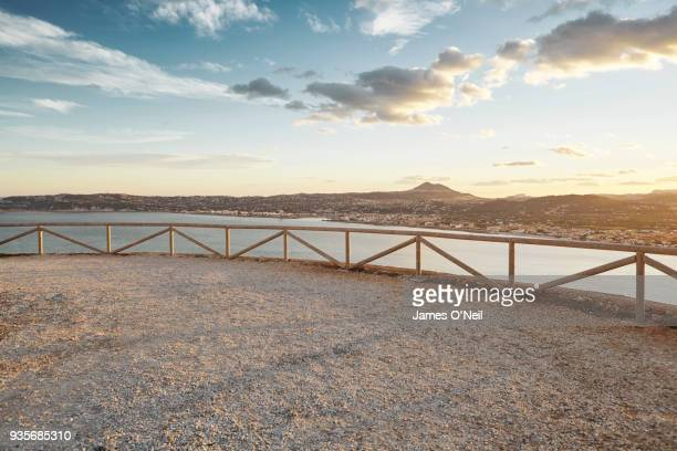 Empty viewing platform at sunset, Xabia, Spain